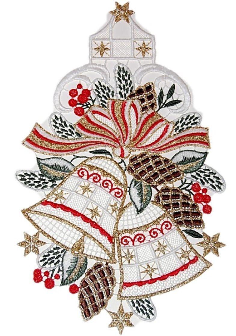 Fensterbild PLAUENER SPITZE® 17x29 cm Weihnachten Glocken ...
