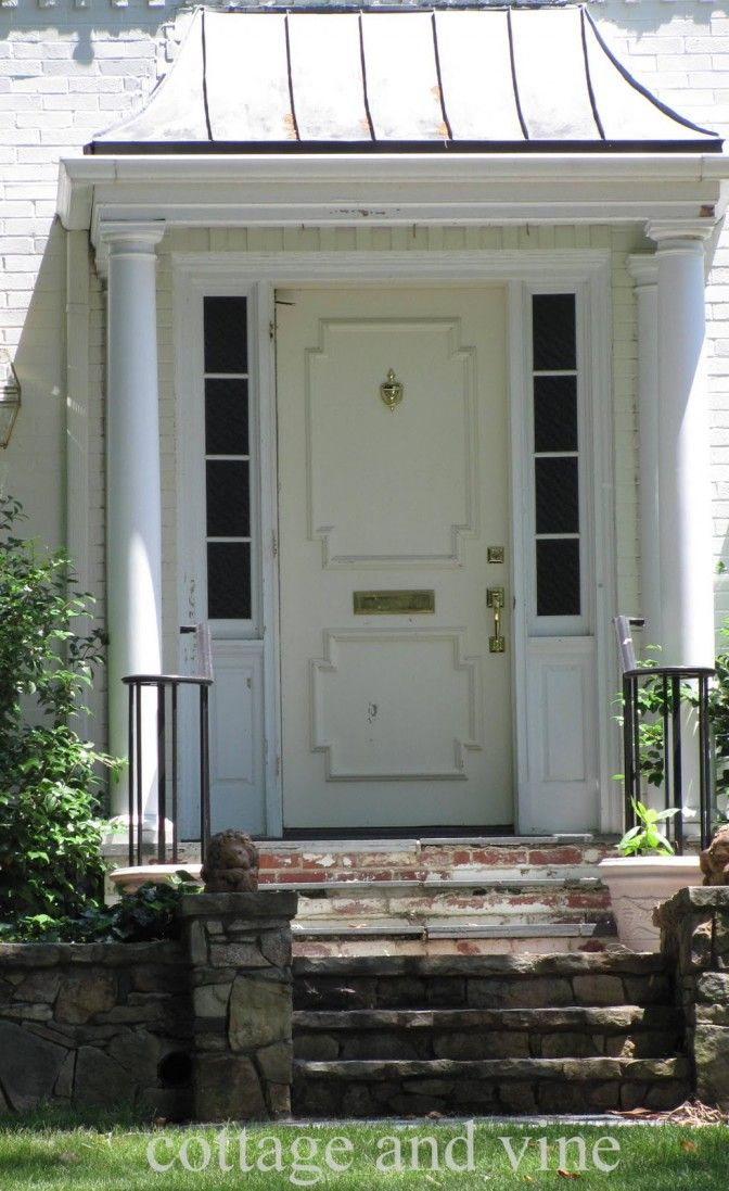 Interior Modern White Front Porch Portico Design Ideas With White Wood Single Front Door Including White House Pillar