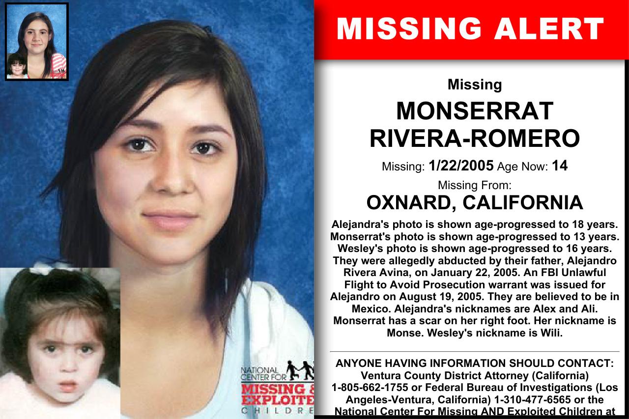 MONSERRAT RIVERA-ROMERO, Age Now: 14, Missing: 01/22/2005