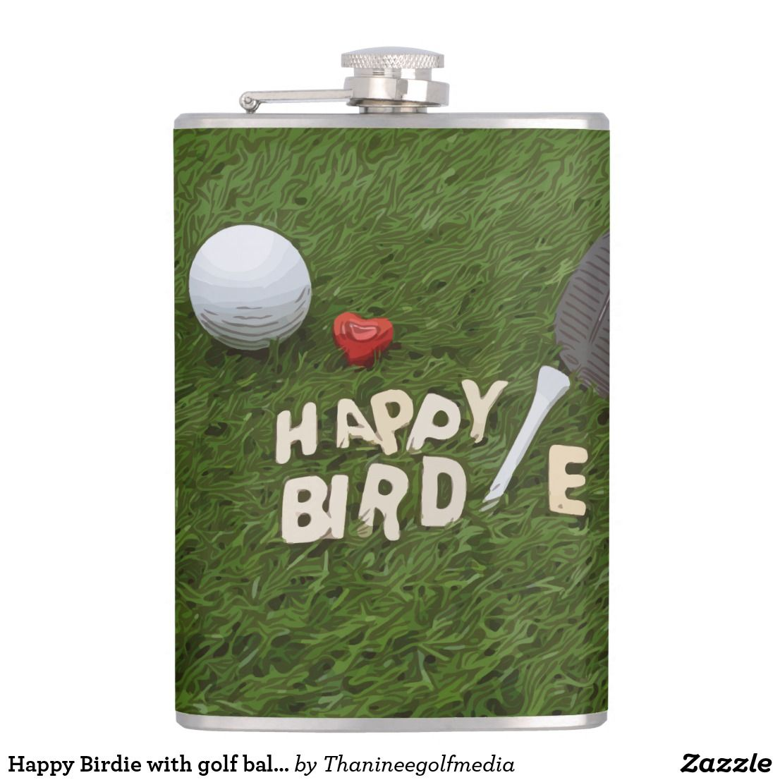 Happy birdie with golf ball and tee with love flask golf
