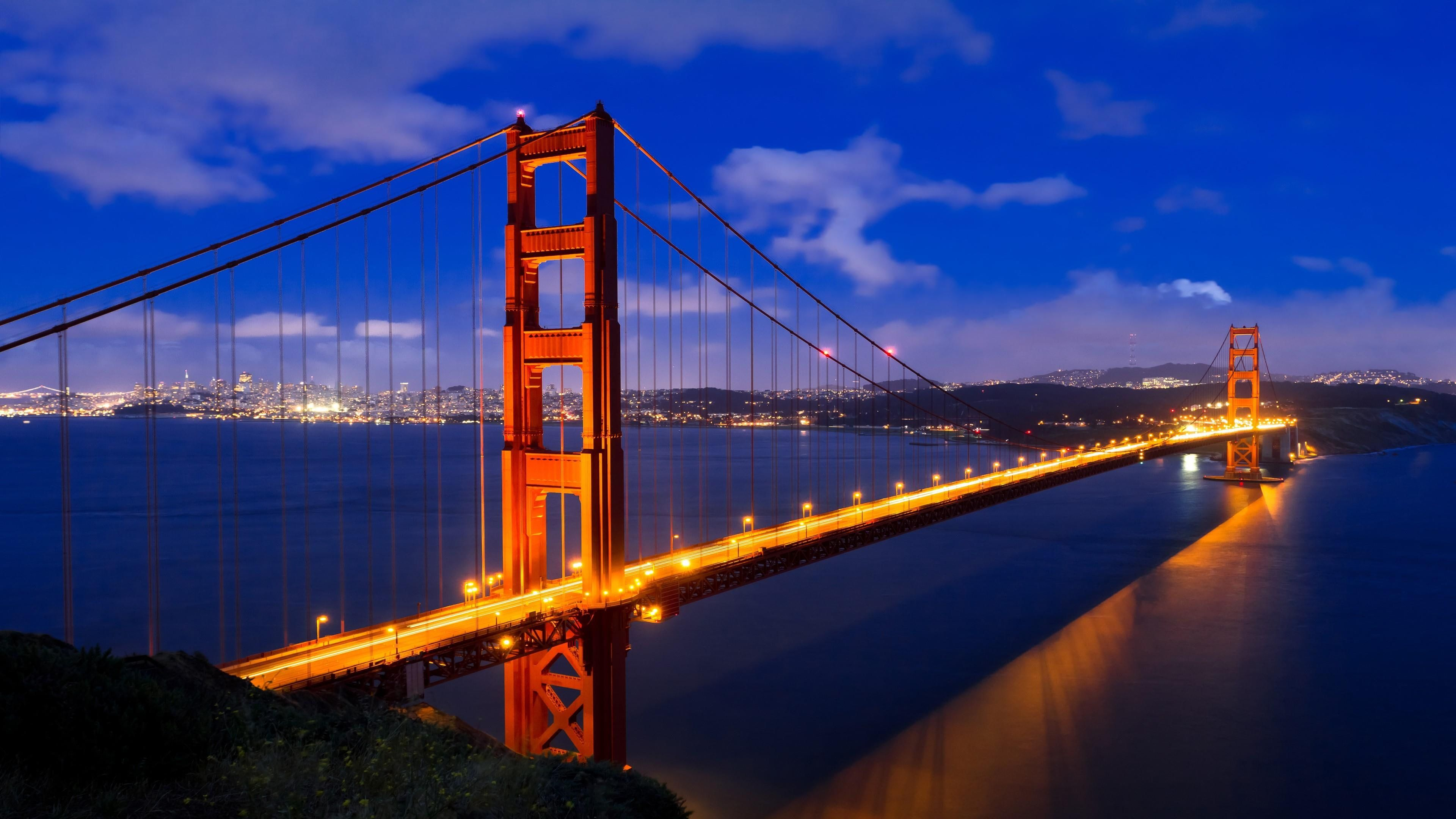 Golden Gate Big Bridge Night Lights Lake United States Usa San Francisco California Golden Gate Bridge Wallpaper Bridge Wallpaper Golden Gate Bridge