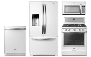 White Appliances With Stainess Accents Cabinets Pictures