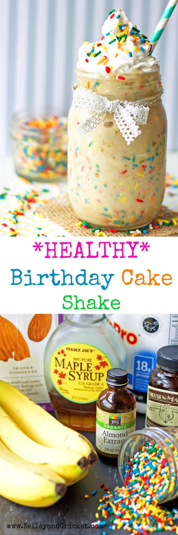 This HEALTHY, sweet and creamy birthday cake shake is full of healthy ingredients and protein to fuel your morning routine! Its like drinking dessert! Dessert Recipes Easy, Dessert Recipes Healthy, Dessert Recipes For A Crowd, Dessert Recipes Cake #healthycake #healthydessert #cake #cakeshake #shake #dessert #birthday #birthdayrecipes #dessertrecipe