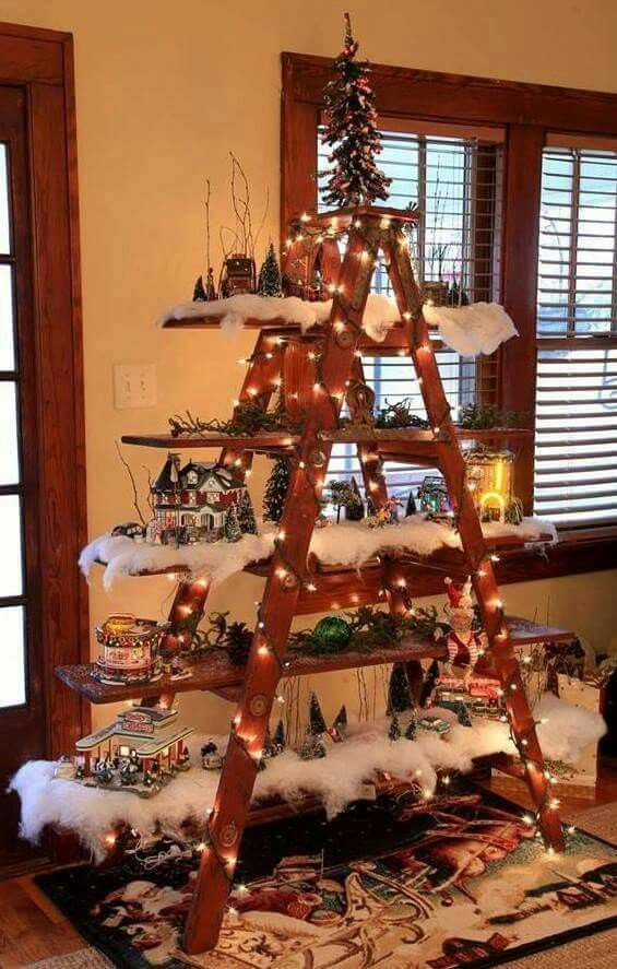 Ladder village scene Christmas Pinterest