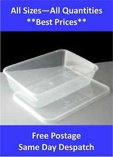 Plastic Containers Tubs Clear With Lids Microwave Food Safe Takeaway *All Sizes*