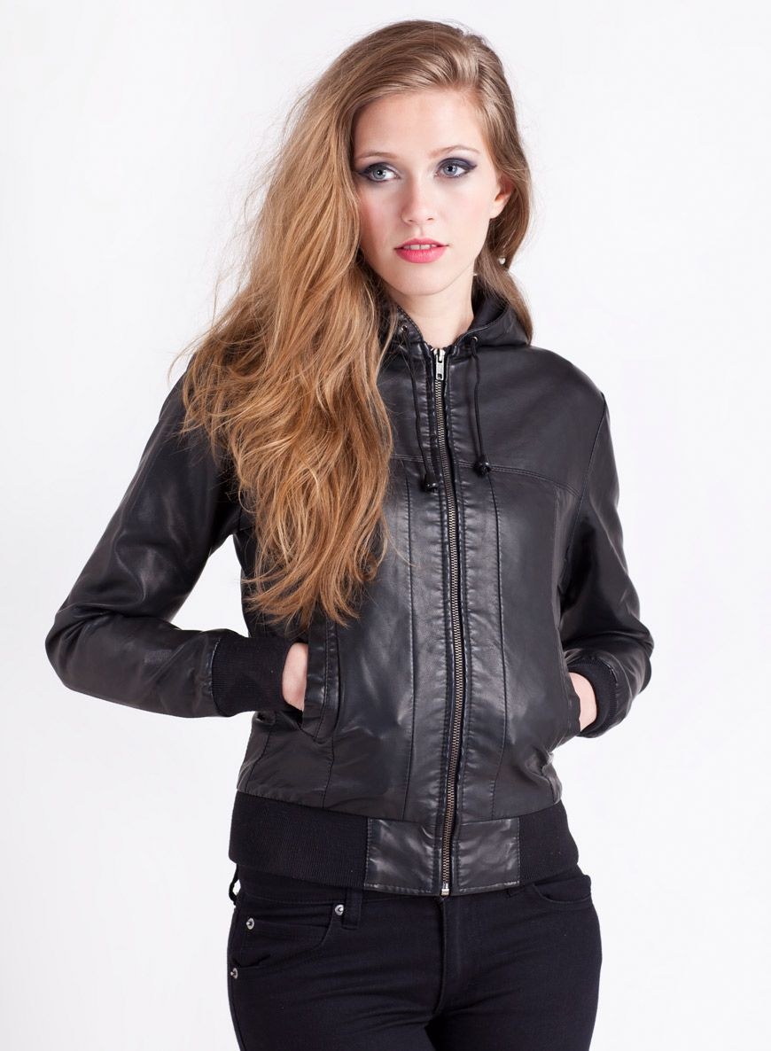 Hooded Faux Leather Bomber Jacket Black... £55 ♥ http://www ...