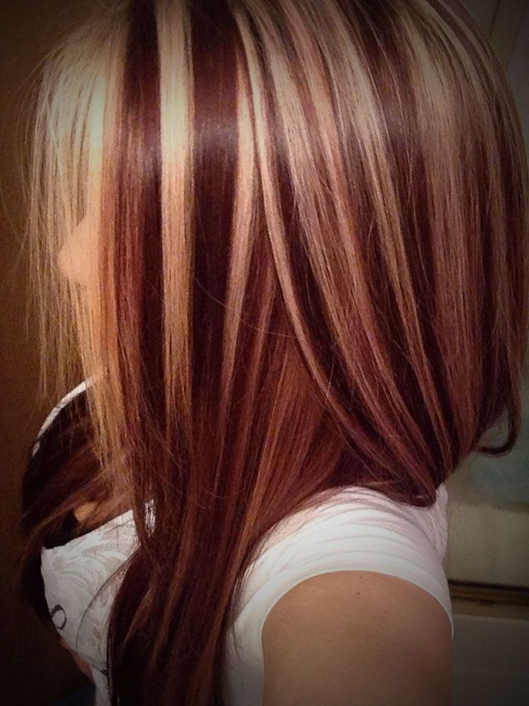 Dark Hair With Blonde And Red Highlights Dark Red Hair Color With
