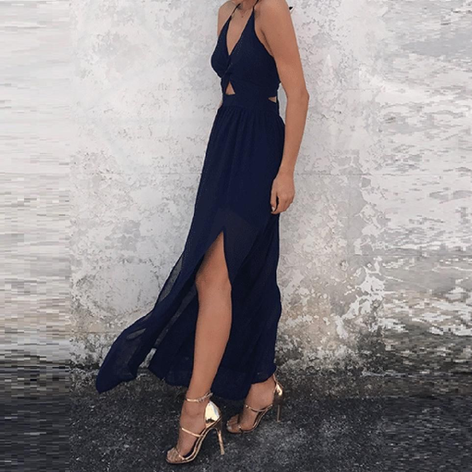 Fit And Flare V Neck Chiffon Summer Maxi Dress In 2021 Maxi Dress Sleeveless Maxi Dress Vacation Maxi Dress [ 963 x 963 Pixel ]