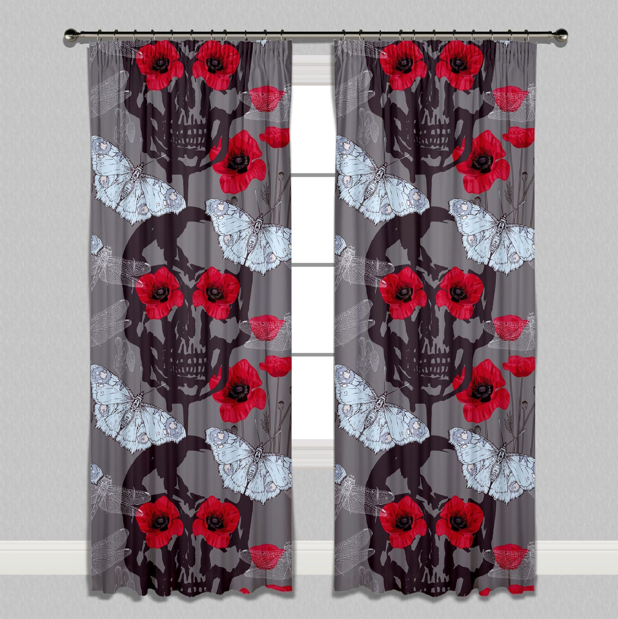 Red Poppy Skull Curtains or Sheers
