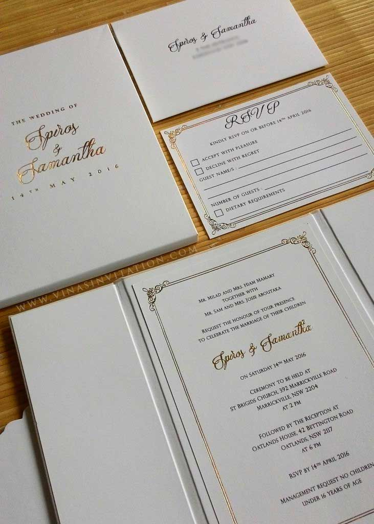 Vinas invitation. vinas sydney. australian wedding invitation. suede ...