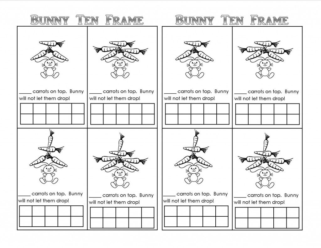 Bunny Time Ten Frame! (Free Printables Kindergarten fun