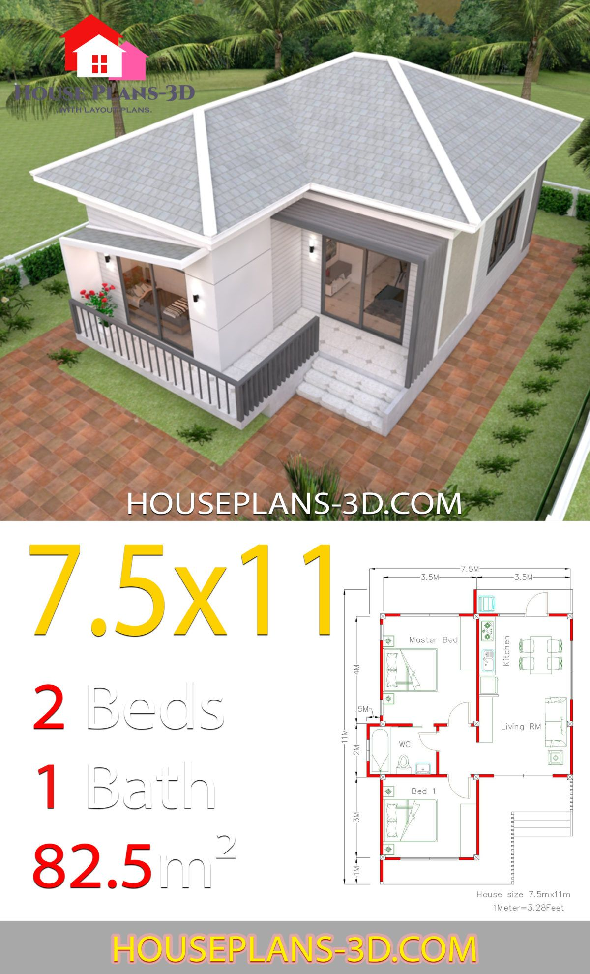 House Plans 7 5x11 With 2 Bedrooms Hip Roof House Plans 3d House Roof House Plans Home Design Plans