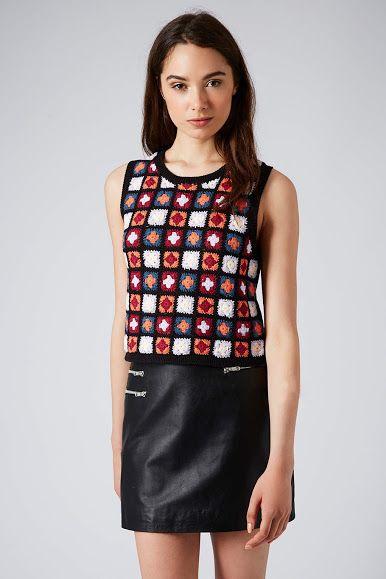 Crochet-front vest from Topshop via Outstanding Crochet