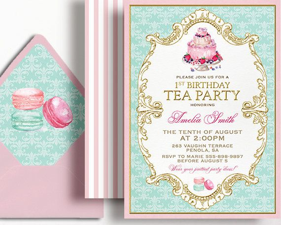 1st Birthday Tea Party Invitation Girls French Tea For Two Birthday