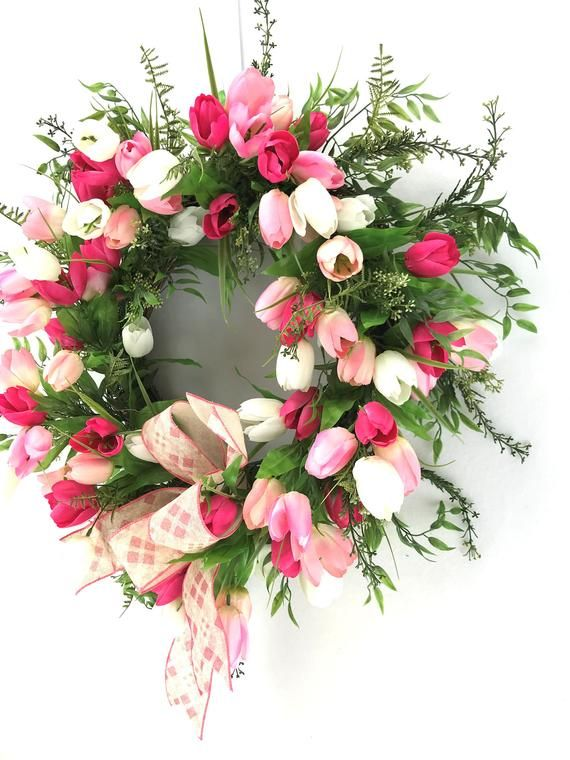 Photo of Pink Tulip Wreath for Front Door with Bow, Mothers Day Gift, Spring Wreaths for Outdoors, Welcome Wreath, Farmhouse Wreath, Baby Girl Wreath