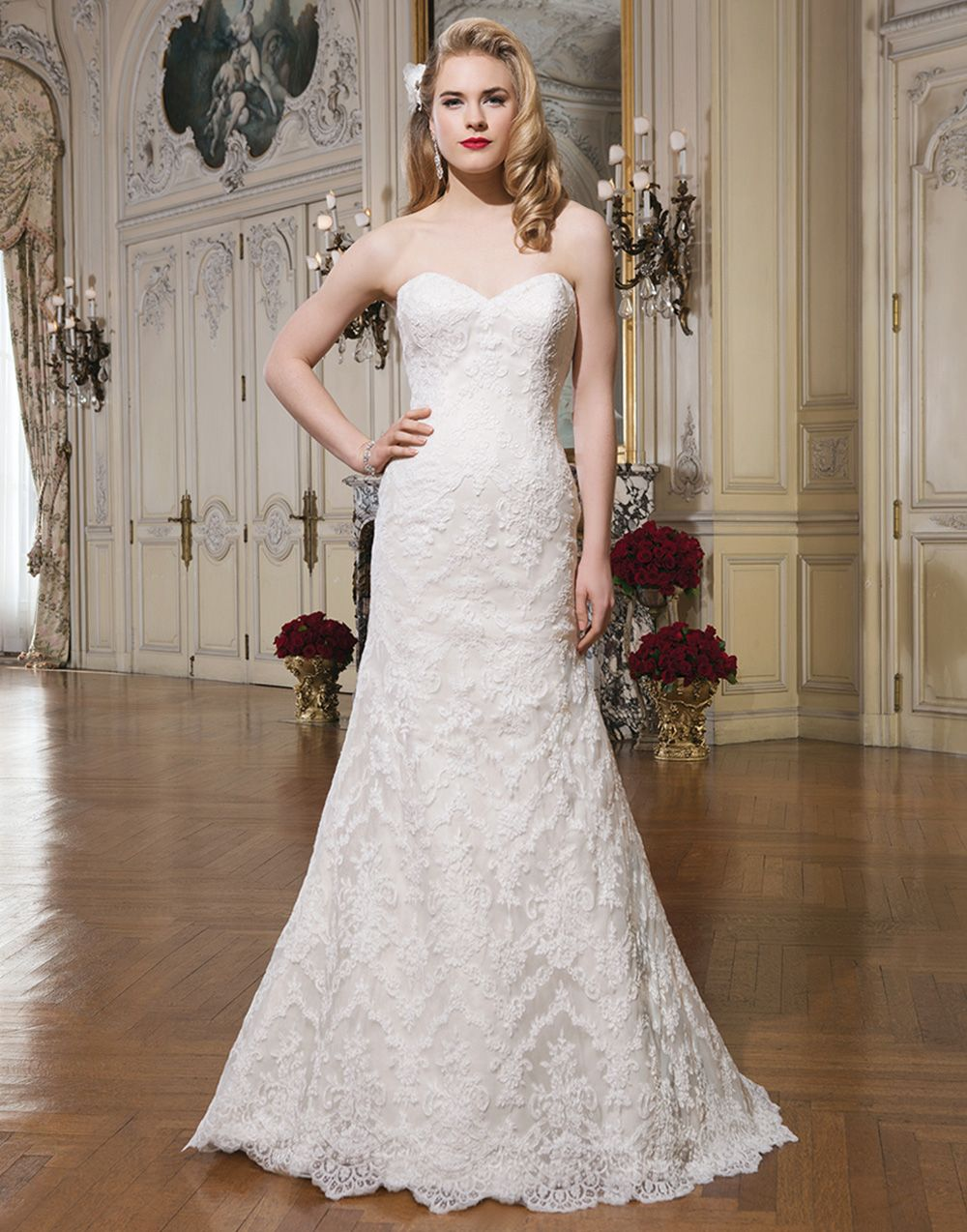 Fit and flare dress wedding  Justin Alexander wedding dress style  Alencon lace fit and flare