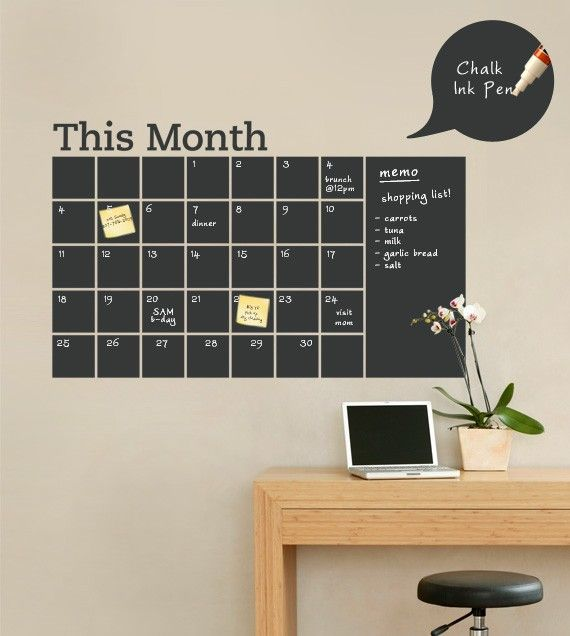 wall calendar made with chalkboard paint.