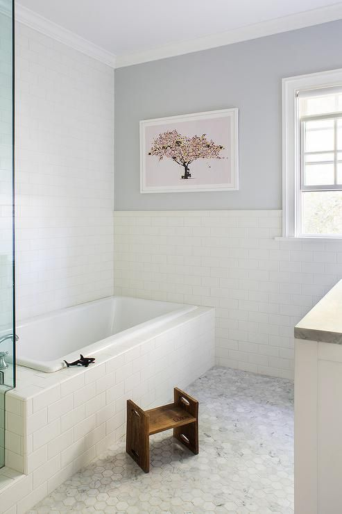 Gray And White Bathroom With Classic Subway Tile Bathrooms