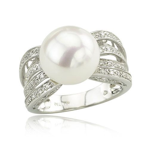 diamond and pearl wedding ring at exclusive decoration - Pearl Wedding Ring Sets