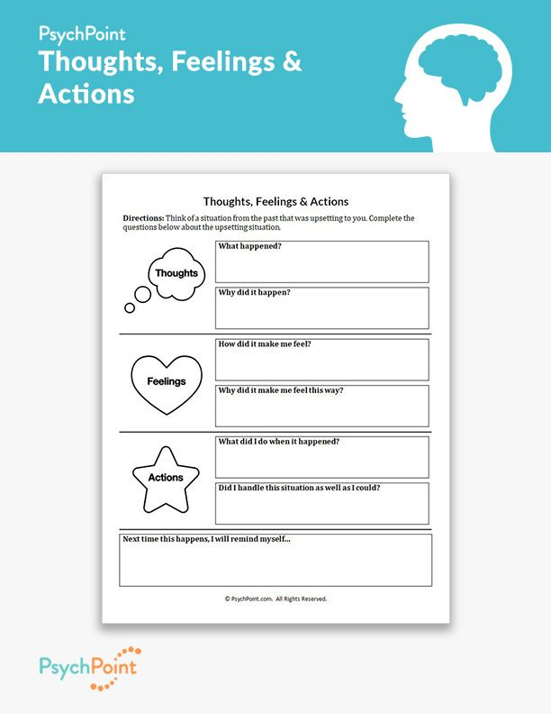 Thoughts, Feelings & Actions | Counseling worksheets, Kids ...