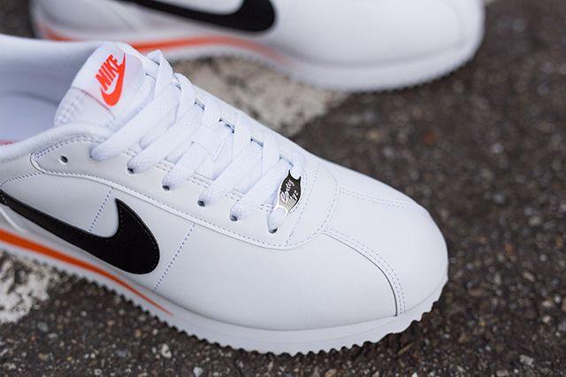Nike Cortez Basic Leather (White/Black/Team Orange) - Sneaker Freaker