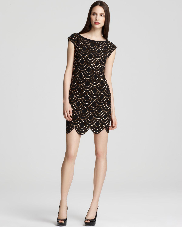 love the scalloped motif - Trina Turk Studded Dress - Scalloped Hem | Bloomingdale's