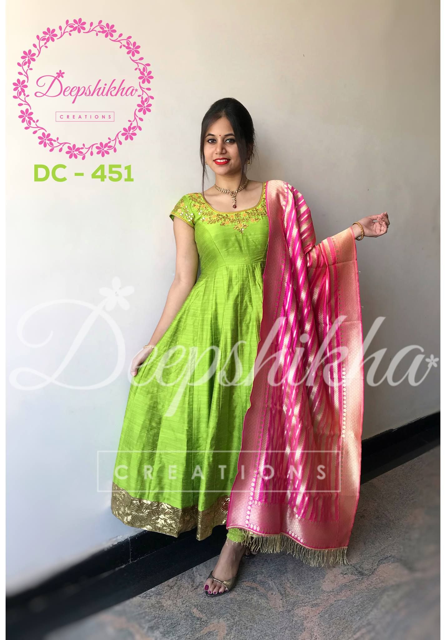 078efcf9b9 Beautiful parrot green color floor lenght anarkali dress with banarasi  dupatta.For queries kindly WhatsApp: +91 9059683293 . 23 December 2017