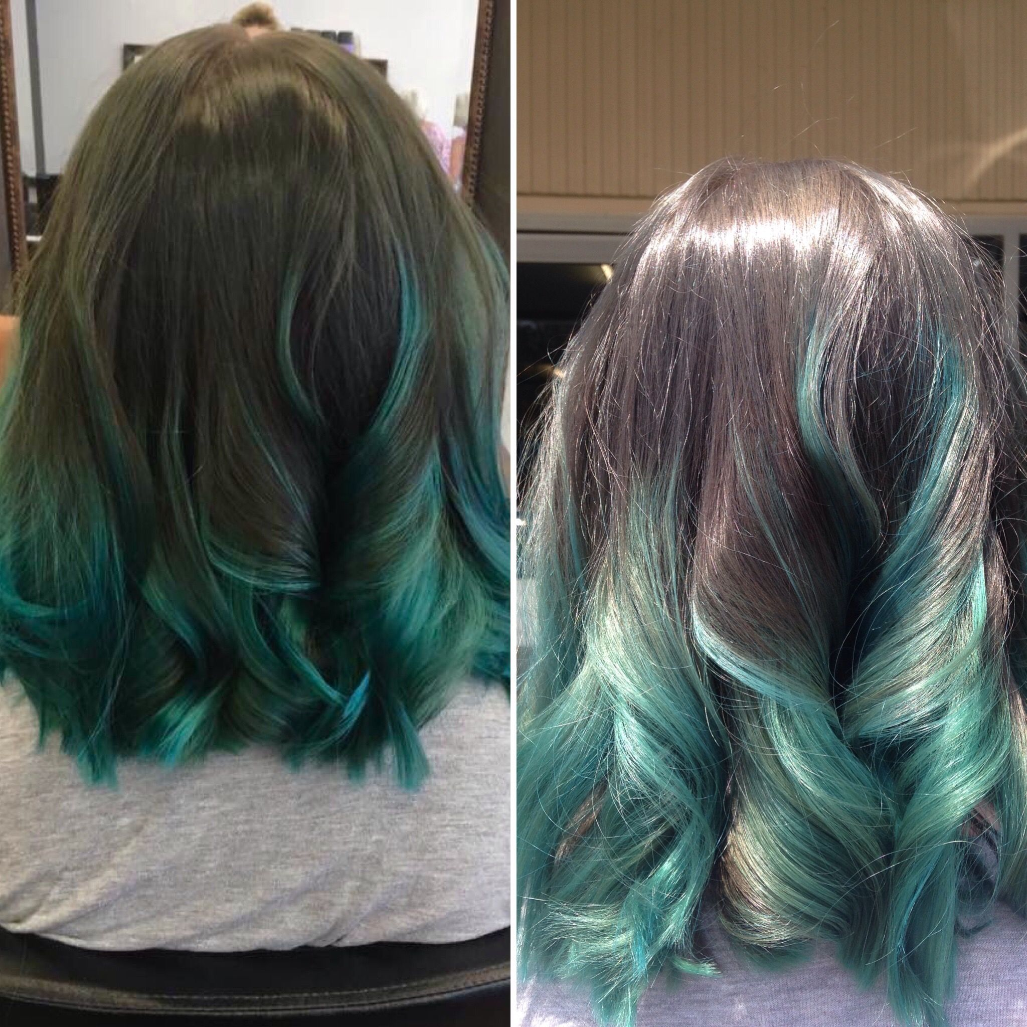 Brunette/teal ombre in artificial and natural light | Dye my hair, Long hair styles, Light hair