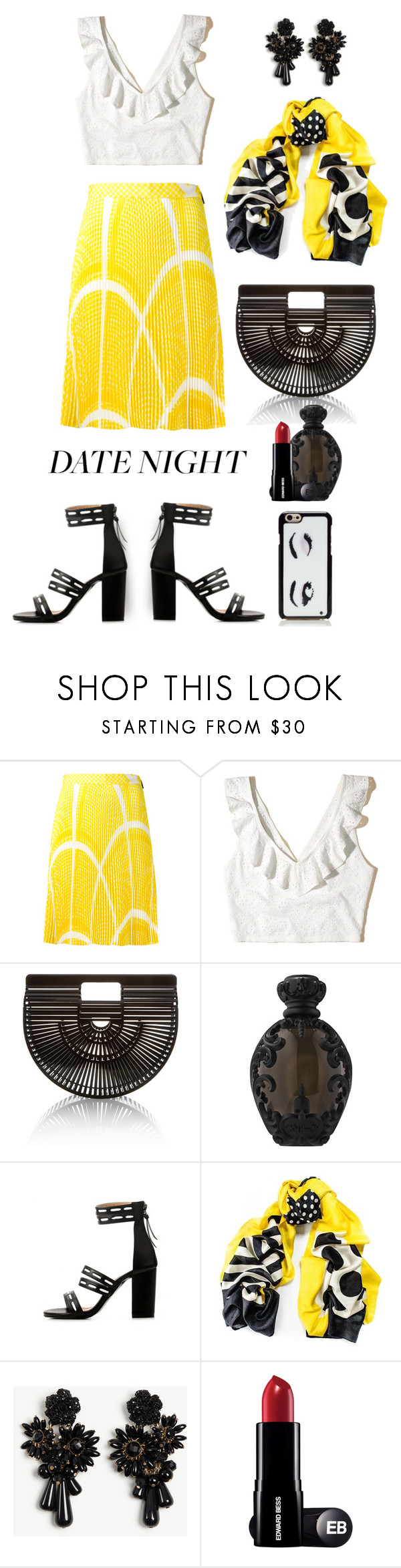 """""""summer date"""" by art-gives-me-life ❤ liked on Polyvore featuring MSGM, Hollister Co., Cult Gaia, Kat Von D, Black, Ann Taylor, Kate Spade and contestentry"""