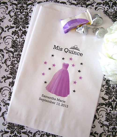 Personalized Paper Favor Goodie Bags Mis Quince Purple