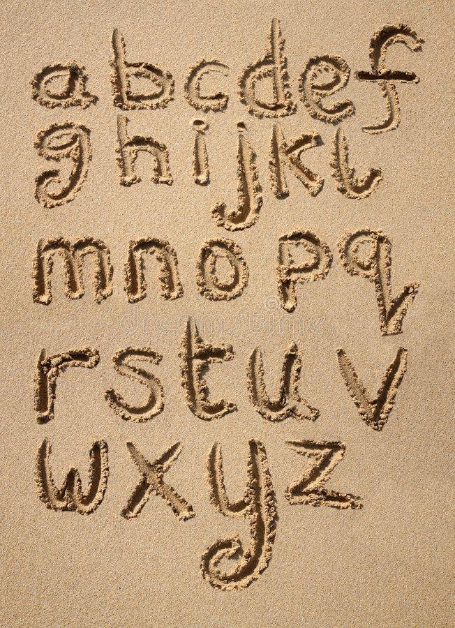 The alphabet written in sand. The alphabet written in sand
