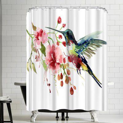 East Urban Home Suren Nersisyan Hummingbird And Flowers Single Shower Curtain In 2021 Bohemian Wall Decor Fabric Decor Bohemian Style Rooms