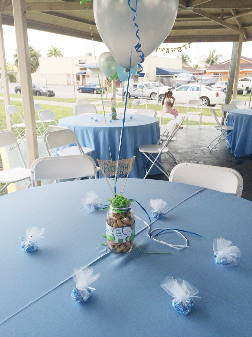 Table boy baby shower elephant balloons center piece Email ...