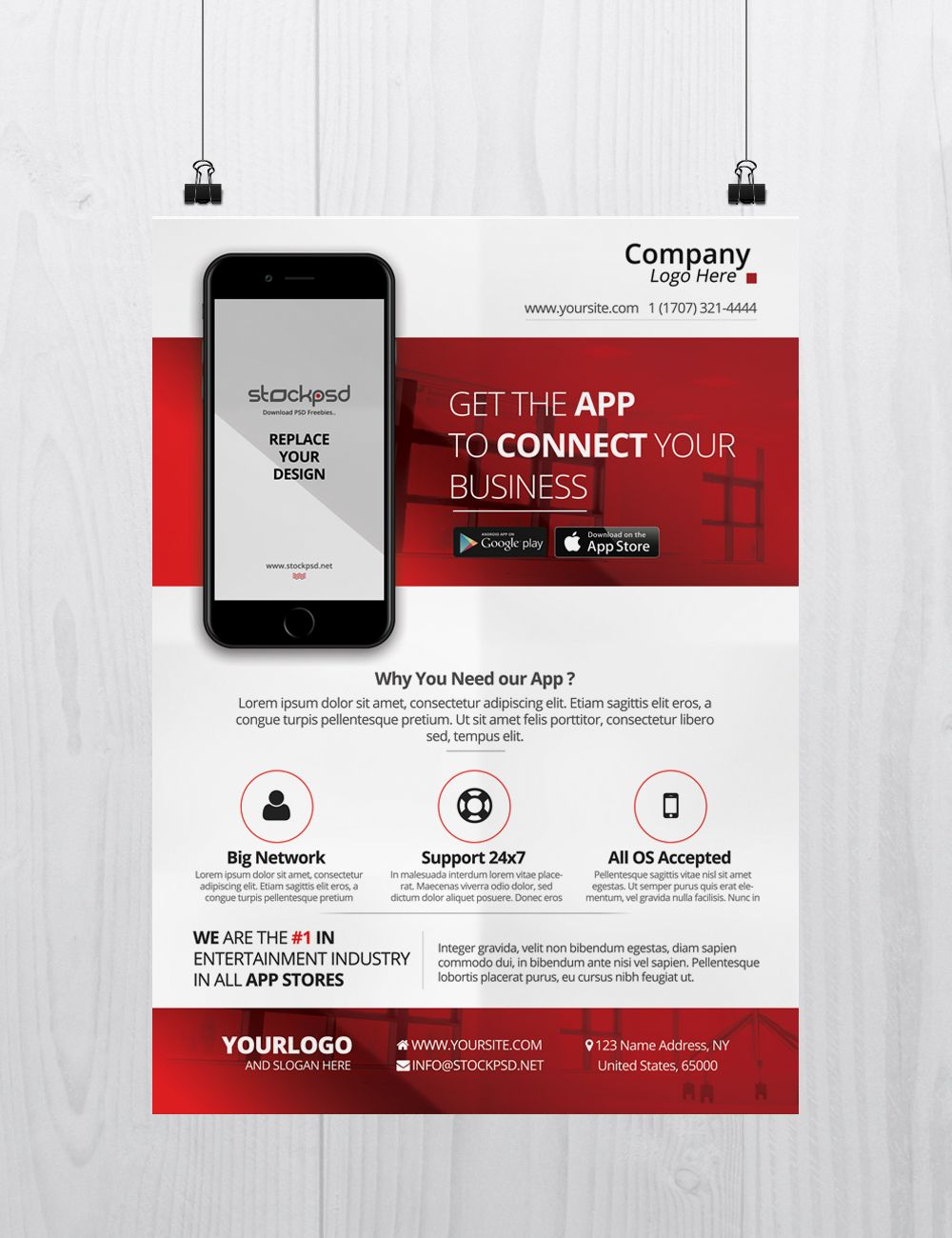 Mobile App Business Free PSD Flyer Template Mobile app
