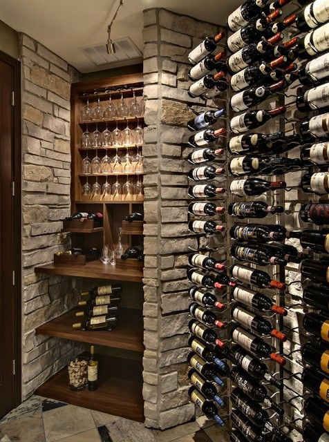 Striking Traditional Wine Cellar Room Design Interior in Small Space with Wooden Simple Wine Glass Rack Furniture Decor