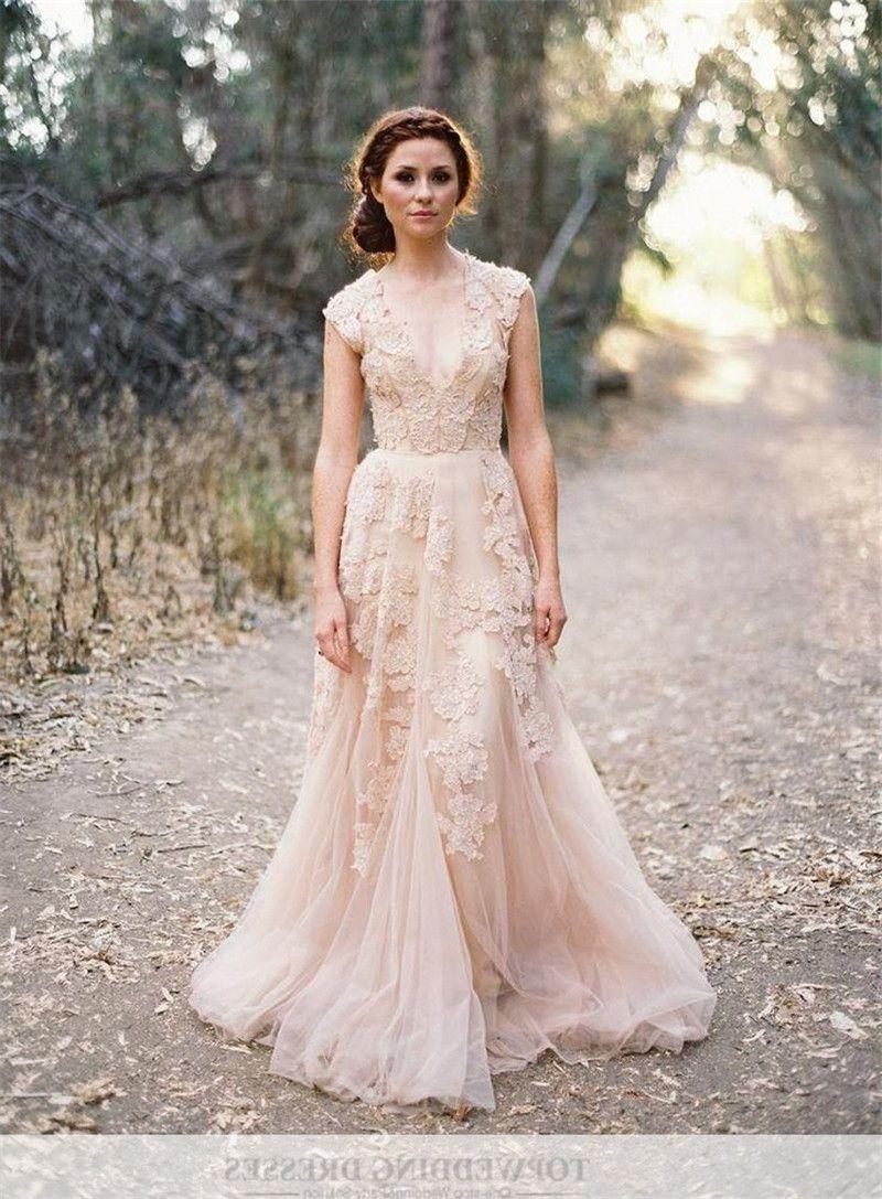 Pink Champagne Colored Wedding Dresses Bridesmaid Dresses Boho Lace Dress Boho Vintage Lace Weddings