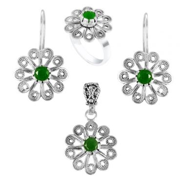 vânzare la cald online ridicat vânzare cu reduceri Set de Argint, Flori cu Piatra Verde Smarald - Cercei, Pandantiv ...
