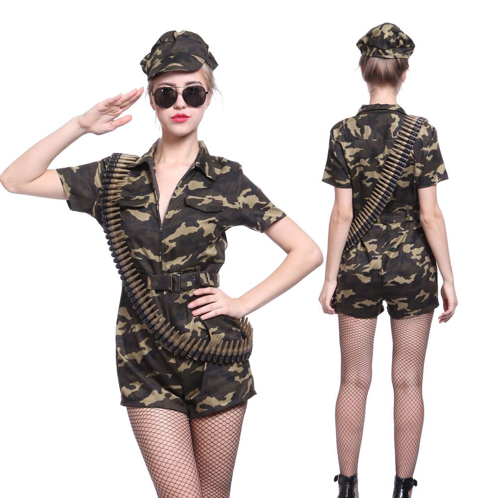 CA372 Ladies Cadet Army Camo Uniform Costume Military Soldier Fancy Dress Outfit