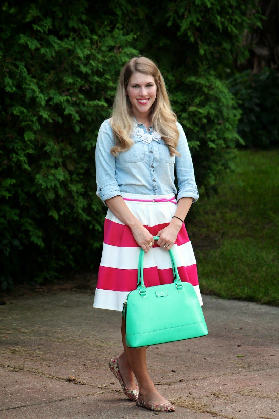 I do deClaire: Confident Twosday: Chambray and Pink Striped Skirt