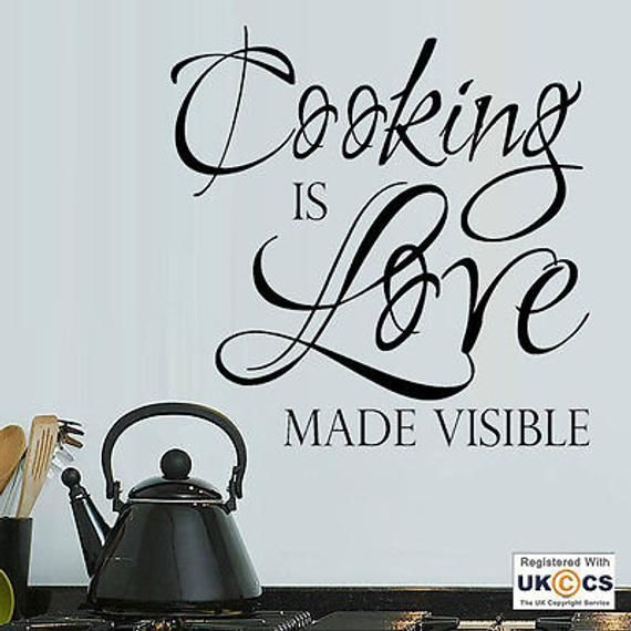 cooking love kitchen food chef restaurant quote wall art stickers decals vinyl h medium black on kitchen decor quotes wall decals id=84642