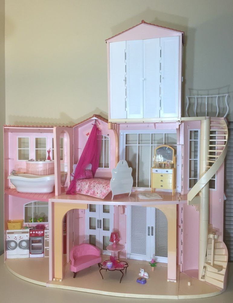 Mattel Barbie 2006 3 Story Dream Doll House Playset Vguc Sounds W Furniture Barbie House Barbie Room Barbie Dream House