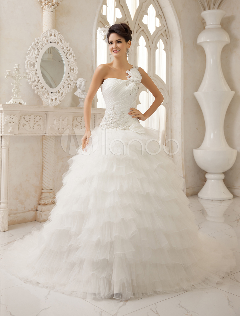 Stunning Ivory Ball Gown Removable One Shoulder Strap Ruffles Court Train Bridal Wedding Gown