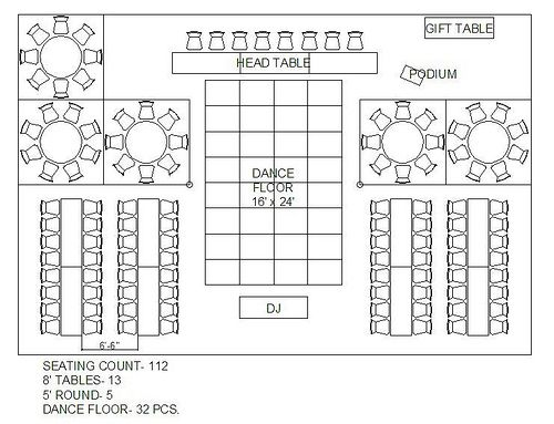 rectangle and square wedding reception floor plan