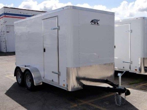 6 X 12 Atc Polar White Cargo Trailer Swing Rear Doors A Side Door Stone Guard Roof Vent 6 Additional Height And Custom Trailers Cargo Trailers Recreational Vehicles