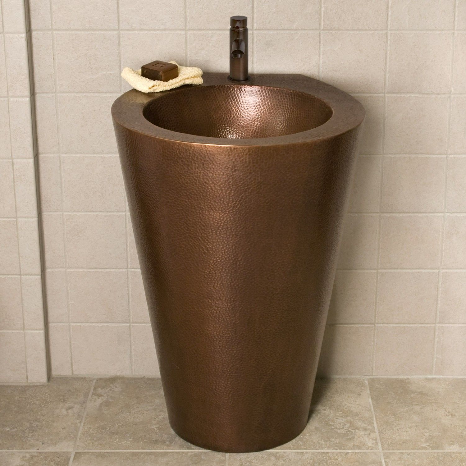 Modern Hammered Copper Pedestal Sink Emily and Mike