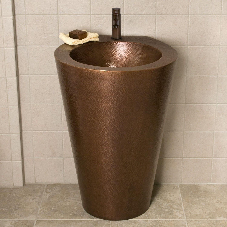 modern hammered copper pedestal sink