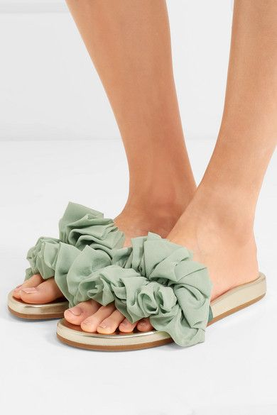 Naia Ruffled Organza And Metallic Leather Slides - Mint Charlotte Olympia Release Dates Authentic Zd2qU2