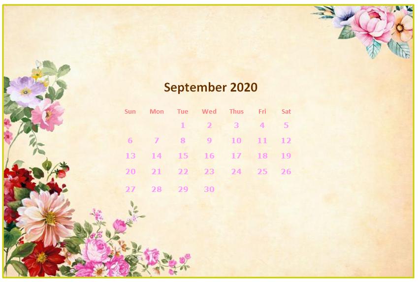 September 2020 Desktop Calendar Wallpapers Calendar Wallpaper September Wallpaper Desktop Calendar