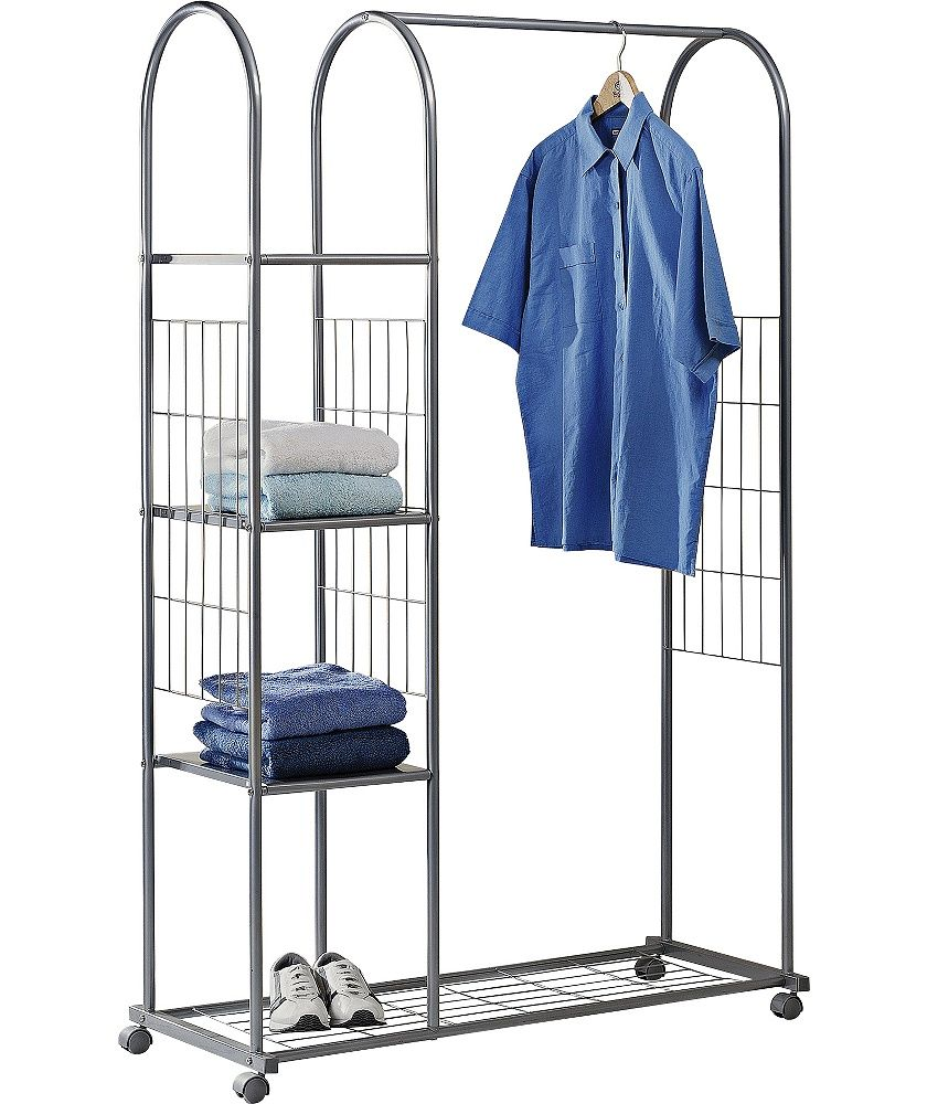 buy clothes rail with shelves and shoe rack silver at. Black Bedroom Furniture Sets. Home Design Ideas