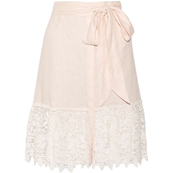 Miguelina Carlene crocheted cotton-lace and linen skirt (£215) ❤ liked on Polyvore featuring skirts, pastel pink, pastel skirts, cotton knee length skirt, pink skirt, linen skirt and cotton linen skirts